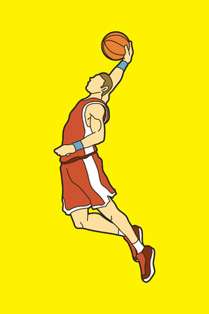 Basketball player dunking graphic vector Illustration