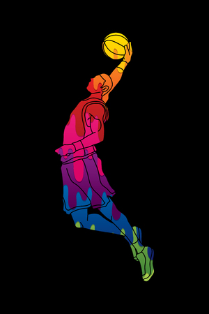 Basketball player dunking designed using melting colors graphic vector Illustration