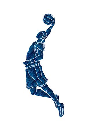 Basketball player dunking designed using grunge brush graphic vector