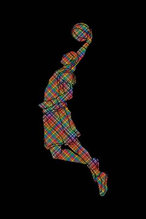 screen printing: Basketball player dunking designed using colorful pixels graphic vector