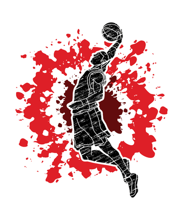 Basketball player dunking designed on splatter blood graphic vector