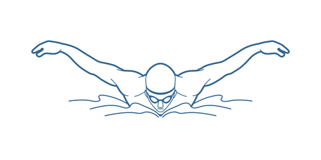 race winner: Swimming butterfly, man swimming outline graphic vector Illustration
