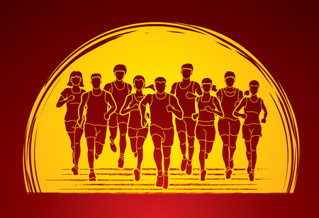 Marathon runners, Group of people running, Men and women running designed on sunrise  background graphic vector.