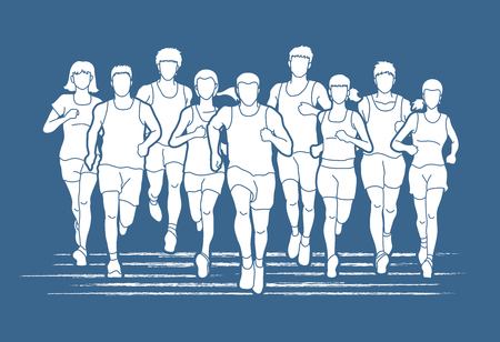 Marathon runners, Group of people running, Men and women running graphic vector.