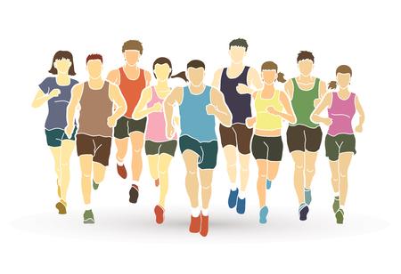 Marathon runners, Group of people running, Men and women running graphic vector.