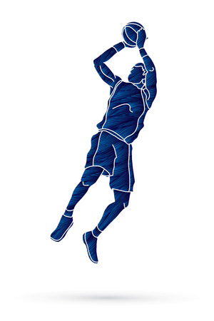 Basketball player jumping and prepare shooting a ball designed using grunge brush graphic vector Illustration