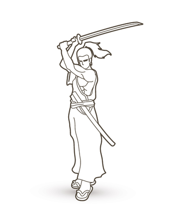Samurai standing with sword katana, Ready to fight outline graphic vector