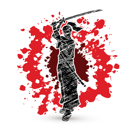 Samurai standing with sword katana, Ready to fight designed on splatter blood background graphic vector Illustration