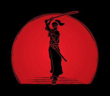 Samurai standing with sword katana, Ready to fight designed on sunlight background graphic vector