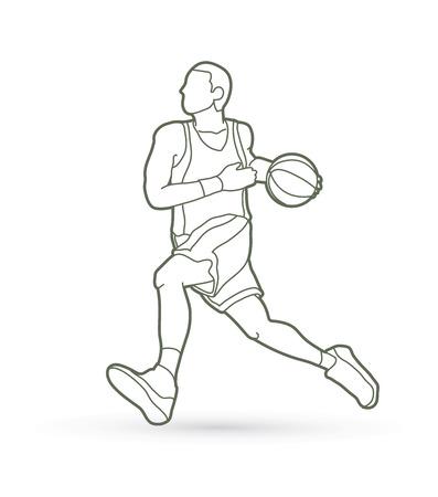 Jugador de baloncesto en corriente vector gráfico de contorno de movimiento