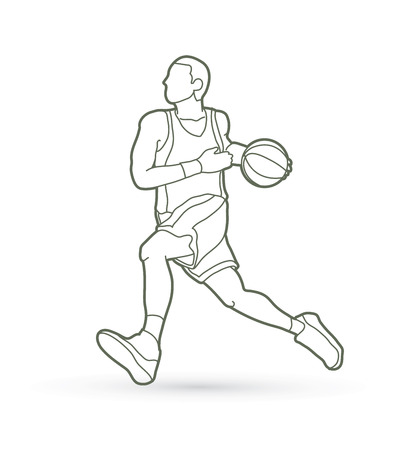Basketball player on running motion outline graphic vector Illustration