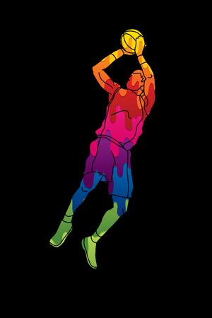 basketball dunk: Basketball player jumping and prepare shooting a ball graphic vector Illustration
