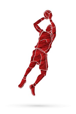Basketball player jumping and prepare shooting a ball designed using red grunge brush graphic vector