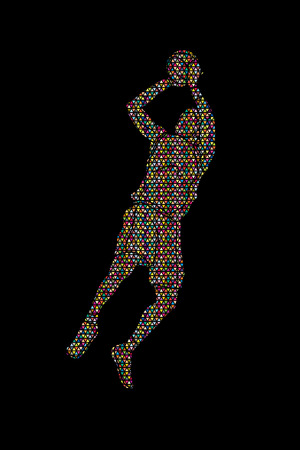 Basketball player jumping and prepare shooting a ball designed using mosaic pattern graphic vector