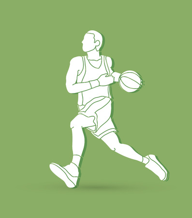 Basketball player running graphic vector Illustration