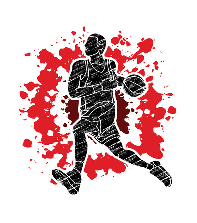 Basketball player running designed on splatter blood background graphic vector Illustration