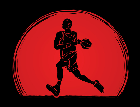 Basketball player running designed on sunlight background graphic vector Illustration