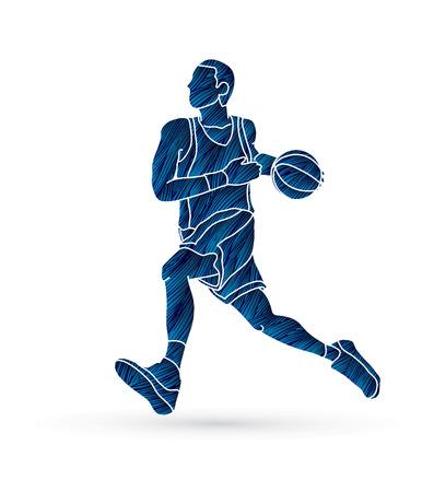 Basketball player running designed using blue grunge brush graphic vector Illustration