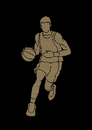 Basketball player running front view designed using luxury geometric pattern graphic vector Illustration