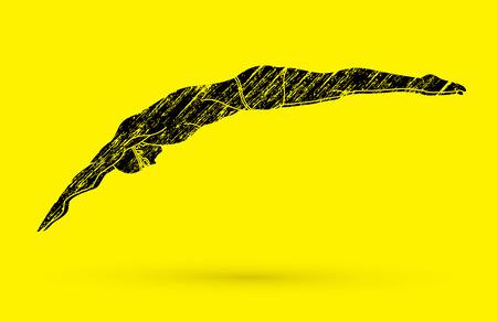 그런지 브러시 그래픽 벡터를 사용하여 설계된 수영장으로 점프하는 남자