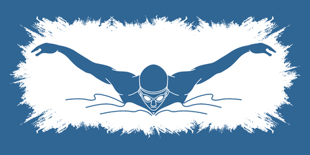 Swimming butterfly, man swimming designed on grunge frame graphic vector