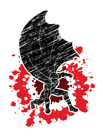 Strong Man , Superhero landing powerful action designed on splatter blood background graphic vector. Illustration