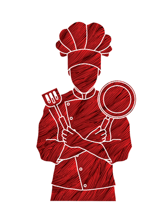 tunic: Chef cook standing crossed arms with pan and spatula designed using red grunge brush graphic vector Illustration
