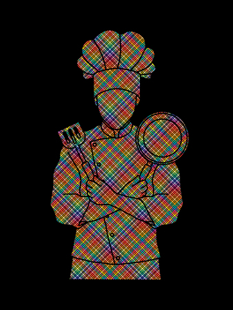 Chef cook standing crossed arms with pan and spatula designed using colorful pixels graphic vector Illustration