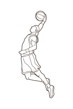 Basketball player dunking outline graphic vector Illustration