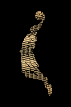 Basketball player dunking designed using geometric pattern graphic vector
