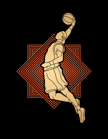 Basketball player dunking designed on spin wheel background graphic vector