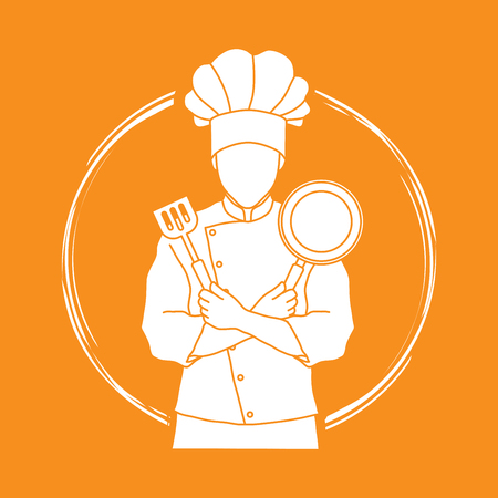 Chef cook standing crossed arms with pan and spatula graphic vector