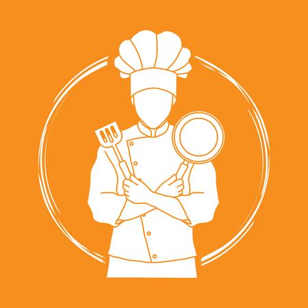 Chef-kokkok die gekruiste wapens met pan en spatel grafische vector bevinden zich