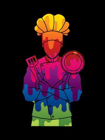 Chef cook standing crossed arms with pan and spatula designed using melting colors graphic vector