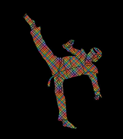Taekwondo high kick action with guard equipment designed using colorful pixels graphic vector.