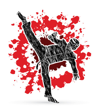 Taekwondo high kick action with guard equipment designed on splatter blood background graphic vector.