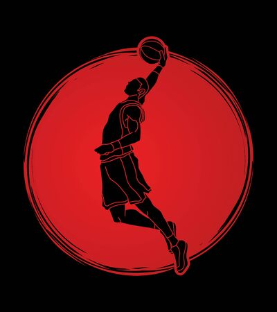 Basketball player dunking designed on sunlight background graphic vector