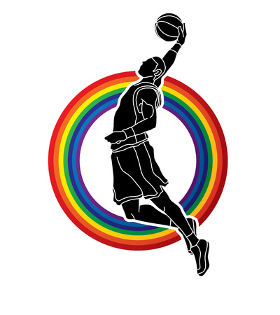 Basketball player dunking designed on rainbows background graphic vector