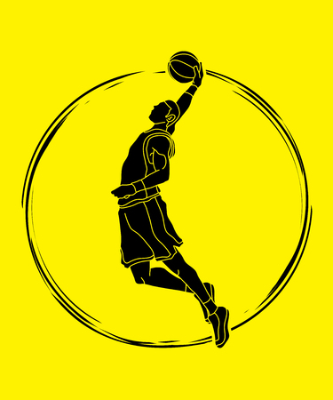 Basketball player dunking graphic vector
