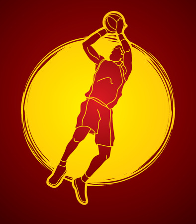Basketball player jumping and prepare shooting a ball designed on sunlight background graphic vector Illustration
