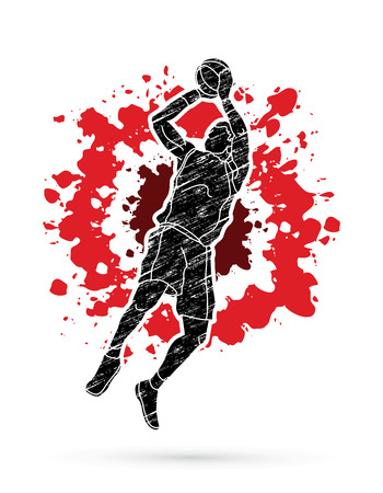 Basketball player jumping and prepare shooting a ball designed on splatter blood background graphic vector
