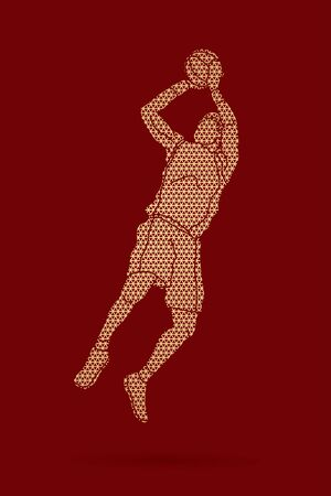 Basketball player jumping and prepare shooting a ball designed using geometric pattern graphic vector