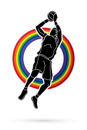 basketball dunk: Basketball player jumping and prepare shooting a ball designed on rainbow background graphic vector