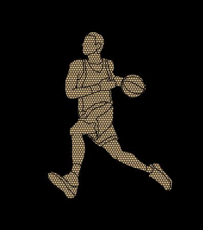 Basketball player running designed using geometric pattern graphic vector