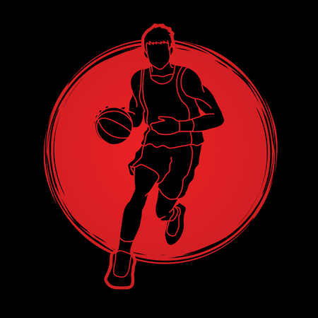 Basketball player running front view designed on sunlight background graphic vector