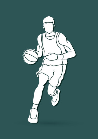 Basketball player running front view graphic vector
