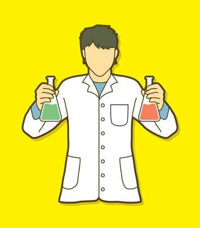 Scientist with flask chemical graphic vector Illustration