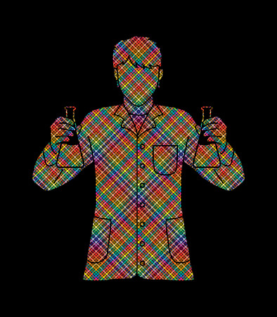 Scientist with flask chemical designed using colorful pixels graphic vector