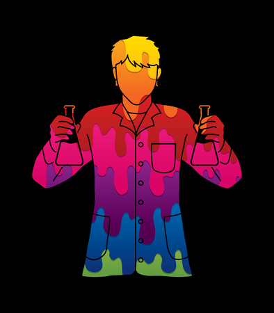 Scientist with flask chemical designed using melting colors graphic vector Illustration