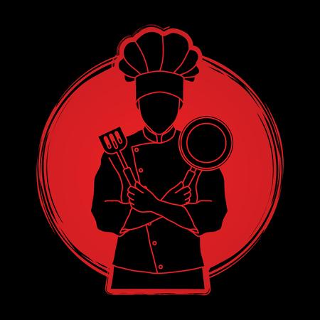 Il cuoco del cuoco unico che sta le armi attraversate con la pentola e la spatola hanno progettato sul vettore del grafico del fondo di luce solare. Archivio Fotografico - 84496184
